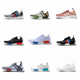 Discount nmd r1 triple black - NMD R1 Primeknit Top Quality Running Shoes Classic Color Mesh Triple White Cream Salmon Sneakers Casual Walking Training
