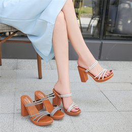 string spools UK - Slope heel sandals womens high heel 2020 new comfortable thick sole Roman flat toe Amazon drill string