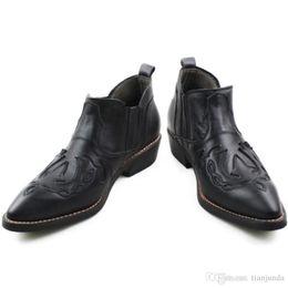 NUEVO Botas Hombre 3.5 cm Tacones Hombres Botas de cuero de costura en negro Cuero de vaca Cuero genuino Botas de trabajo Western Cowboy Botines en venta