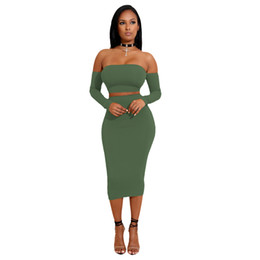 33d73e8f7c Sexy Women Two Pieces Set Off Shoulder Lace Up Back Long Sleeve Backless  Crop Top Bodycon Pencil Skirt Set Women Clothes Sets C19041501