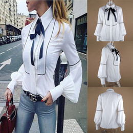 Wholesale Fashion Sweet Formal Women Ladies Lantern Sleeve Shirts Sexy Women Casual Party Collar Bow Single Breasted Slim Shirts