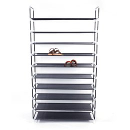 bathroom cabinet shelves UK - Simple Assembly 10 Tiers Non-woven Fabric Shoe Rack with Handle Black Shoe Storage Cabinet Organizer for Home Dormitory Shoes Y200527