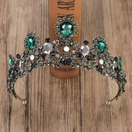 $enCountryForm.capitalKeyWord Australia - Crystal Crown Tiara Bride Headdress Vintage Baroque Green Crystal Crown Wedding Headpieces Bride Queen Hair Accessories