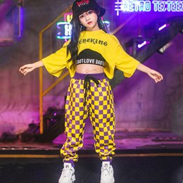 $enCountryForm.capitalKeyWord Australia - Fashion Jazz Dance Costumes Girls Loose Tops Plaid Pants Suit For Children'S Hip Hop Street Dance Stage Perform Outfits DWY2020