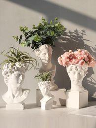 Toptan satış Modern İskandinav tarzı Yaratıcı Portre vazo İnsan kafa Dekoratif süsler Reçine David Vazo Ev dekorasyon aksesuarları
