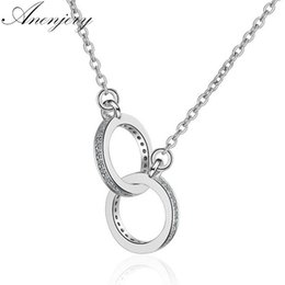 coin links UK - Anenjery 925 Sterling Silver Double Circle Cz Zirconia Necklaces & Pendants For Women Gift Kolye Choker Collares Bijoux S-n61 T190702