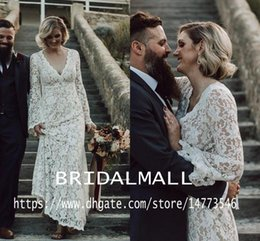 Simple outdoor wedding dreSSeS online shopping - Bohemian Full White Lace Long Sleeve Wedding Dresses Elegant V Neck Boho Country Bridal Gowns Vintage A Line Outdoor Robe de mariée