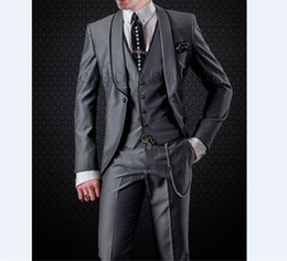 Images Fashionable Suits Australia - Fashionable Groomsmen Shawl Lapel Groom Tuxedos Dark Grey Men Suits Wedding Prom Dinner Best Man Blazer ( Jacket+Pants+Tie+Vest ) B512