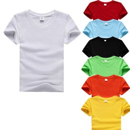 0baeae68bca7a1 Summer Boys Shirts Cotton Children T-shirts Colored Tops For Girls Short  Sleeve Kids Blouse Toddler Tees Baby Clothing Y19051003