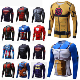 superhero shirts wholesale Australia - Mens New Compression Shirt Superhero man Capitan America Iron Man 18 Styles Quick Dry Shirt Brand Clothing Fitness Men Long Sleeve T-shirts