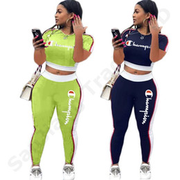 $enCountryForm.capitalKeyWord NZ - Emboridery Champions Letters Women Tracksuit Short T-shirt Crop Top +Pants 2 Piece Casual Set Sports Suit Green Jogger Outfit S-2xl C3202