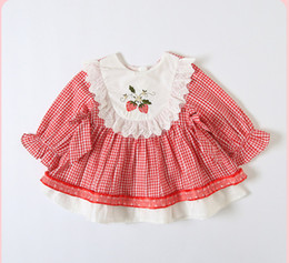 $enCountryForm.capitalKeyWord Australia - Baby girls Bows plaid dresses infant kids strawberry embroidery flare sleeve pleated dress children lace hollow falbala princess dress F8863