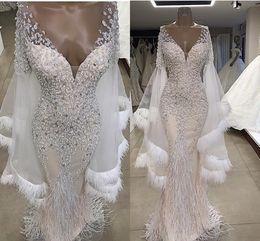 $enCountryForm.capitalKeyWord Australia - Champagne Feather Beaded Mermaid Wedding Dresses Luxury Sparkly Off Shoulder Short Sleeve Bridal Gown Plus Size Custom Made