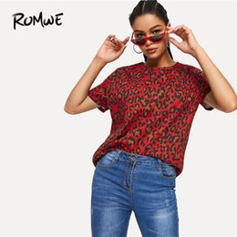 Stylish Summer Tops Women NZ - Romwe Leopard Print Tee 2019 Chic Stylish Short Sleeve Womens Clothing Summer Tops Women Fashion Round Neck Shirts Y190513