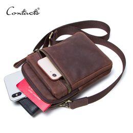 $enCountryForm.capitalKeyWord Australia - Contact's 100% Genuine Leather Men Waist Pack For Cell Phone Shoulder Bag Travel Pouch Small Crossbody Bags Card Holders Bolsas J190702
