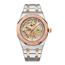 High End Mechanical Watches UK - TOP Men's Watch Fashion Steel Band Machinery Automatic Watch Hollow-out Literary Silver Rose Gold Men's Wear Business Leisure High-end Watch