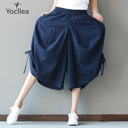 black linen trousers women NZ - Pants Women Summer Casual Trousers Calf-length Pants Lady Cotton Linen Wide Leg Pants Loose Plus Size Women's Clothing Wj365 Y19071701