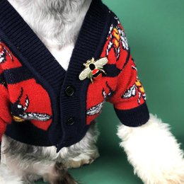 Discount large female dog collars Pet dog clothes Sweater collars Dog clothes autumn small dog Teddy law fighting Bomei schnauzer cat sweater cardigan pet
