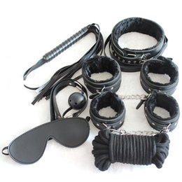 Discount whip set sex - Bondage set 7 kits for foreplay sex games red fur handcuffs blindfold handcuffs ankle cuff blindfold collar leather whip