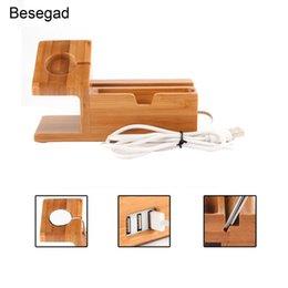 Besegad Wood Charger Ladestation Dock Standhalter mit 3 USB-Hub-Anschluss für Apple Watch iWatch 1 2 3 4 iPhone X 8 7 6 6s Plus