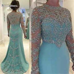 Wholesale 2019 Mint Green Vintage Sheath Prom Dresses Long Sleeve Beads Long Sleeves Appliqued Evening Party Gown
