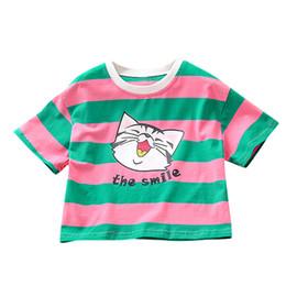 $enCountryForm.capitalKeyWord Australia - SAGACE kids suit Short Sleeve Rainbow Stripe Cartoon Cat T-Shirt Tee Tops Clothes Infant Kids Baby Boy Grils summer blouse tops