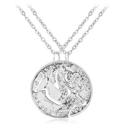 $enCountryForm.capitalKeyWord UK - Buck and Doe Interlocking Necklace Set Quarter Coin Cut BBF Couples Jewelry Relationship Deer Heads for her