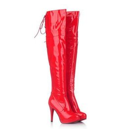 08fcc8d3a GZHOUSE Mulheres Sexy Stiletto Sobre O Joelho Botas de Couro de Salto Alto Coxa  Botas Altas Mulheres Inverno sapatos Vermelho Preto Branco