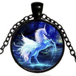 Alloy Jacket Australia - WINGED FLYING HORSE UNICORN ALLOY GLASS SWEATER NECKLACE COLLAR JEWELR FREE STYLE COLLARBONE JACKET JERSEY T-SHIRT SPORTY WEAR NECKLACES