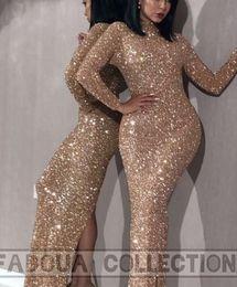 $enCountryForm.capitalKeyWord Australia - Evening dress Yousef aljasmi Labourjoisie Zuhair murad Mermaid High Collar Long Sleeve Gold Sequined Sequins Long Dress James_paul