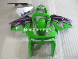 Custom zx9r fairings online shopping - Free custom paint body parts fairing kit for Kawasaki Ninja ZX9R green purple fairings set ZX9R YW26