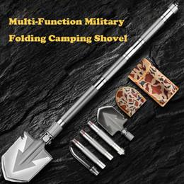 Wholesale Max Length 92cm Shovel High-carbon Steel Shovel Outdoor Tactical Multifunctional Shovel Folding Camping Equipment Survival Tool T200115