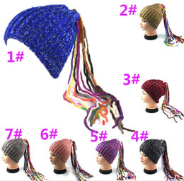 wig crochet hat Australia - Adult winter warm hat knit Wig ponytail Hat Slouchy Crocheted Beanie Hippie Knitted Stretchy Hat Bonnet Autumn Winter cap DA055