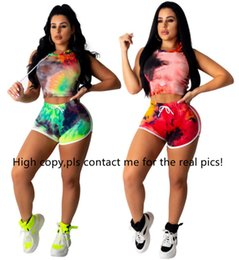 $enCountryForm.capitalKeyWord Australia - Women tie dye sweatsuit brand two piece set short sleeve hooded t shirt bodycon mini shorts designer summer clothing casual jogger suit 1016