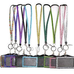 Lanyard badge verticaL online shopping - 100pcs Bling Rhinestone Crystal Custom Neck Lanyard With Vertical PU ID Name Card Badge Holder