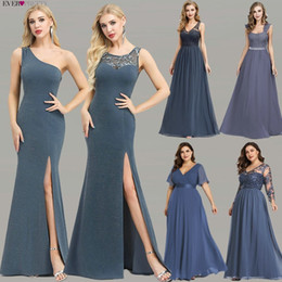 $enCountryForm.capitalKeyWord Australia - Plus Size Evening Dresses Long Ever Pretty New Dusty Blue Sleeveless V-neck Cheap Summer Formal Gowns 2019 Robe Soiree Dubai