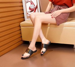 Ring Slides Australia - 2019ss womens Black Toe Ring Sandals flats slippers 10mm 4g Leather slip on slides size euro 35-41