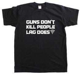Men T Shirt Gun Australia - Guns Don't Kill People Lag Does Internet FPS Gamer New Men Size Cotton t Shirt Style Round Style tshirt