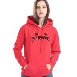 Hoodies Clothes For Female Australia - Female Sweatshirt For Autumn Winter Brand Clothes Coat 2019 New Fashion Kawaii Hoodies Women Cat Meow Print Kpop Women's Hoody