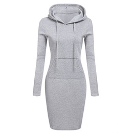 $enCountryForm.capitalKeyWord UK - Autumn Winter Warm Sweatshirt Long-sleeved Dress 2018 Woman Clothing Hooded Collar Pocket Design Simple Woman Dress
