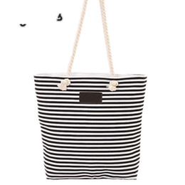 Simple Handbags Australia - 2019 New Style Simple Striped Cotton Bag Fashion Shopping Handbags Women Canvas Shoulder Bags Beach Messenger Ag For Travel