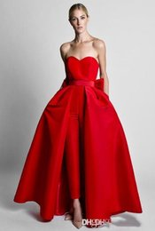 Wholesale hot red jumpsuits resale online – 2020 Red Jumpsuits Formal Prom Dresses With Detachable Skirt Sweetheart Evening Dresses Party Wear Pants for Women Hot Sale