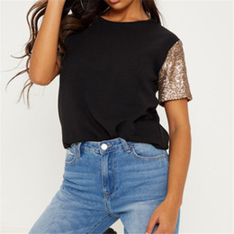 plus size sequin t shirt Australia - Summer T Shirt For Women 2019 New Fashion Sequin Patchwork Short Sleeve T-shirt Casual Loose O-neck Tunic Tops Tees Plus Size