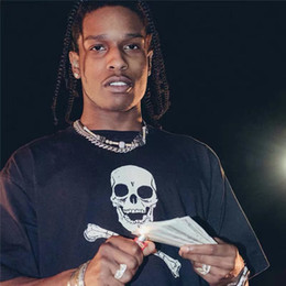 Wholesale skull hip hop clothing resale online - 18SS ASAP ROCKY Christmas Tee Black Skull Printed T shirts Hip hop Short Sleeve Cotton Clothes Round Neck Fashion Tees