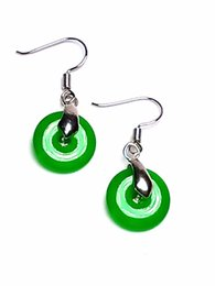 $enCountryForm.capitalKeyWord UK - Handmade Women 925 Silver Green Jade Gemstone Circle Drop Earrings
