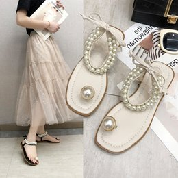 $enCountryForm.capitalKeyWord Australia - Brand 2019 Sweet fashion Lace-up bow Vacation pearls Clip toe Summer Shoes Women ladies flats Dress Sandals zapatos de mujer