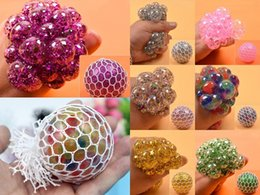 Party Gadgets Australia - 7 Colors Rubber Grape Ball White Mesh Squeeze Toy Stress Autism Mood Relief Gadget Hand Wrist Squeeze Toy 6cm DHL Free Shipping