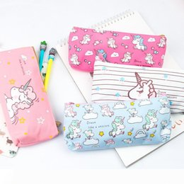 school stationery for kids Australia - A Cute Unicorn Canvas Pencil Bag School Office Supplies Kawaii Stationery Bag for Kids Children Gift W8685