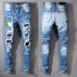 distressed denim for men Australia - fashion Classic Mens Distressed Ripped Biker Jeans Slim Fit Motorcycle Biker Denim For Men Fashion Designer Hip Hop Mens Jeans Good Quality