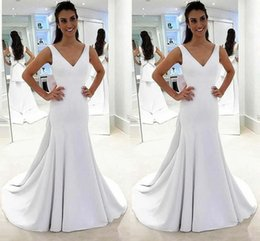 $enCountryForm.capitalKeyWord Australia - 2019 Simple White Satin Mermaid Wedding Dresses Big Bow Ribbon V-neck Layers Skirt Wedding Guest Dress Bridal Gowns Cheap Vestido Wedding